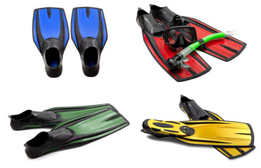 Set of multicolored swim fins, mask, snorkel for diving with wat
