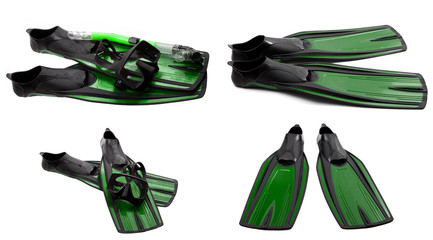 Set of green swim fins, mask and snorkel for diving
