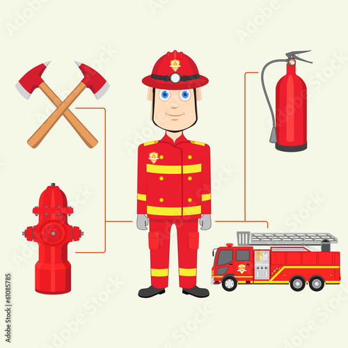 vector illustration of fireman with fire brigade
