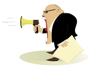 Angry boss gives directions by megaphone