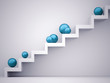 Stairs with blue spheres concept