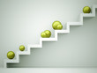 Green spheres on stairs
