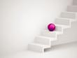 Single pink sphere on stairs
