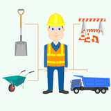 vector illustration of constructor with equipment and tool