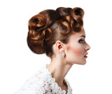 Fototapety Elegant girl in a white dress - beautiful hairstyle with curls o