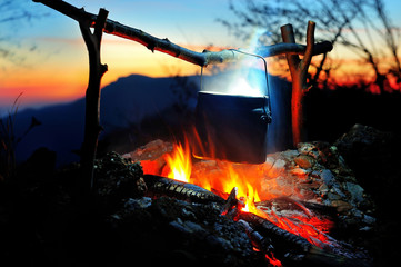 campfire in the night time