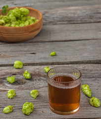 Harvest of hops and drink from the hops