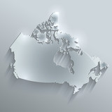 Canada map flag glass water card paper 3D vector