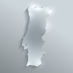Portugal map flag glass water card paper 3D vector