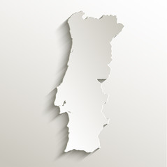 Portugal map card paper 3D natural vector