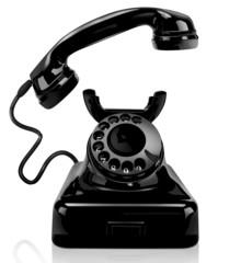 Black vintage phone, isolated