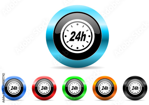 24h icon vector set