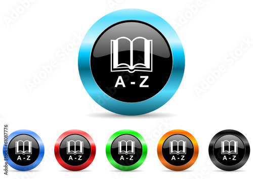 dictionary icon vector set