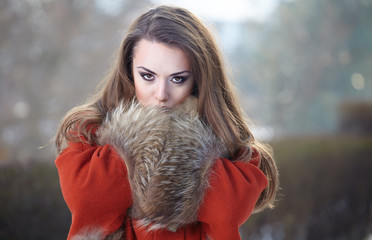 Beautiful woman portrait  in winter