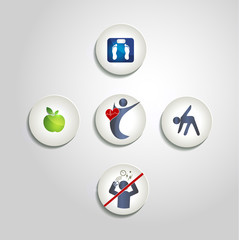 Healthy living concept symbol collection