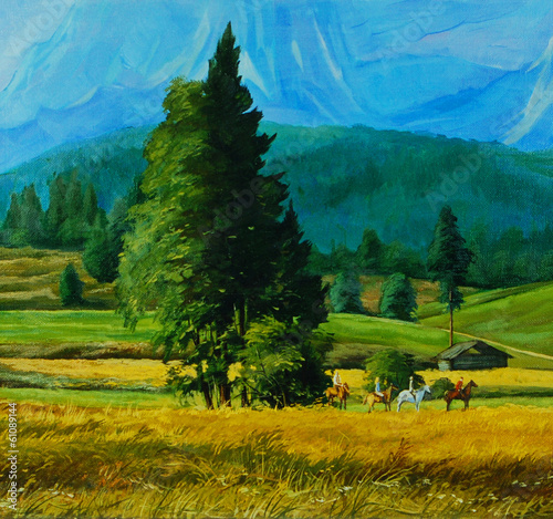landscape picture with group of horse equestrians in mountains,i