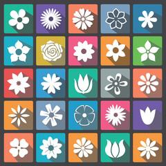 Floral icon set flat