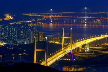 tsing ma bridge at night, Hong Kong Landmark