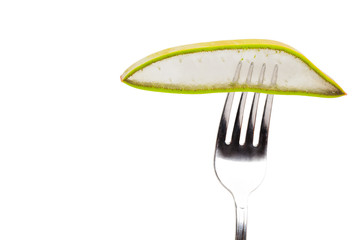 Slice of Aloe Vera in a fork.
