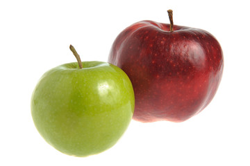 One red apple and one green apple isolated
