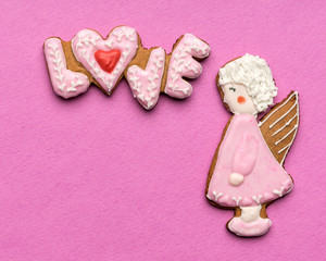 Cookies with text love and angels on Valentine's day