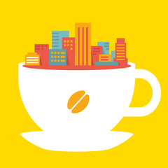 flat style illustration modern city in cup of coffee