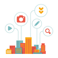 flat style modern city  with icons of daily activity
