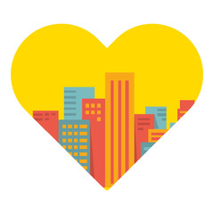 Vector background: a large city in the heart