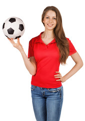 Pretty girl with a soccer ball