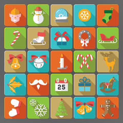 Christmas set of flat icons