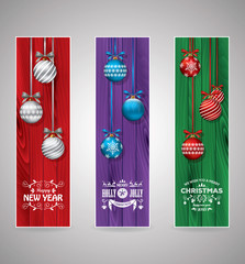 Set of christmas greeting bookmarks