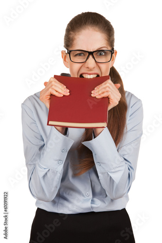 Girl biting teeth in the book cover