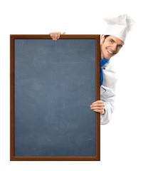 Koch mit Kreidetafel