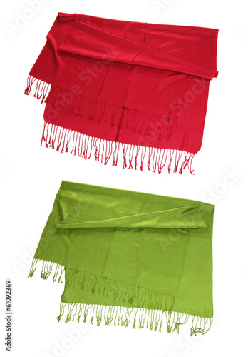 red and green scarfs isolated on white