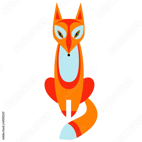 A fox on white background.