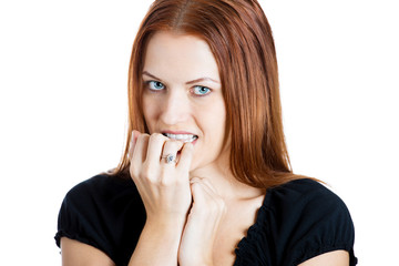 Nervous, anxious woman biting her fingernails