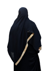 Woman in Burka, isolated as montage element
