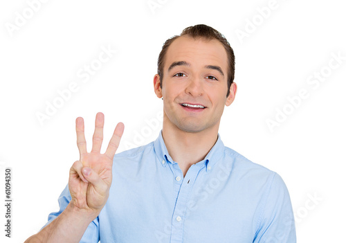 Business man giving three fingers with his hand
