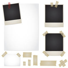 Vector set - adhesive tape, photos, note, paper