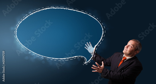 funny businessman presenting speech bubble copy space