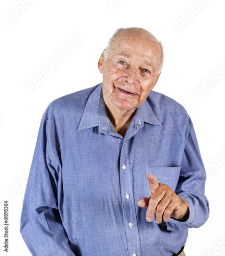 elderly man pointing at someone