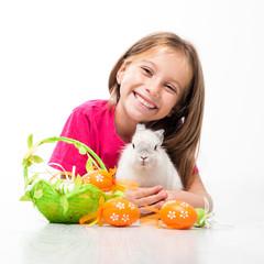 happy little girl with bunny