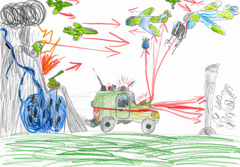 war battle. child drawing.