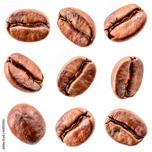 Coffee beans isolated on white. Collection