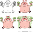 Pig Cartoon Mascot Characters 3. Collection Set