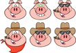 Pig Head Cartoon Characters 3. Collection Set