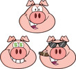 Pig Head Cartoon Characters 2. Collection Set