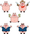 Pig Cartoon Mascot Characters 1. Collection Set