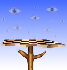 eyes in the sky and abstract chess board