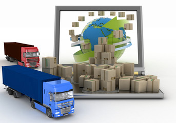 Boxes around globe on laptop screen and two trucks